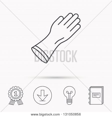 Rubber gloves icon. Latex hand protection sign. Housework cleaning equipment symbol. Download arrow, lamp, learn book and award medal icons.