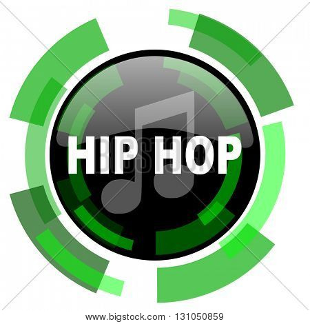hip hop icon, green modern design glossy round button, web and mobile app design illustration