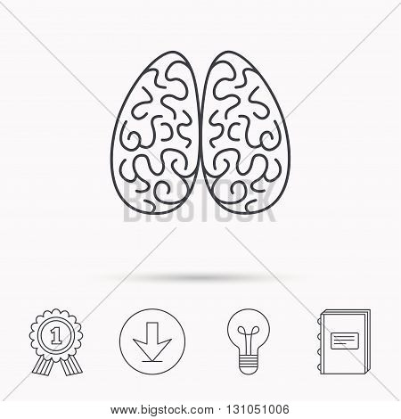 Neurology icon. Human brain sign. Download arrow, lamp, learn book and award medal icons.