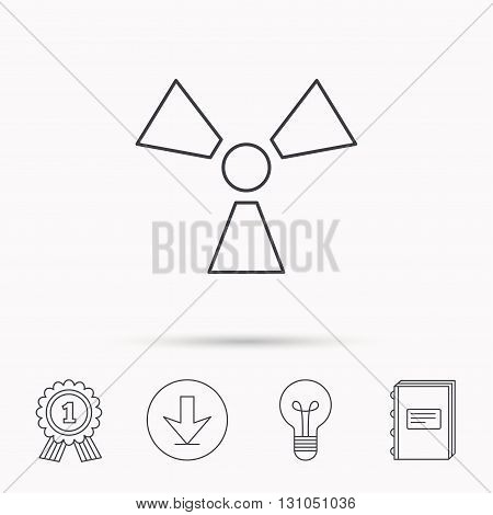 Radiation icon. Radiology sign. Download arrow, lamp, learn book and award medal icons.