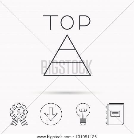 Triangle icon. Top or best result sign. Success symbol. Download arrow, lamp, learn book and award medal icons.