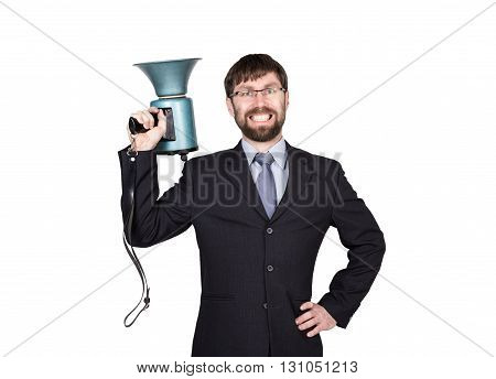 bearded businessman yelling through bullhorn. Public Relations. man expresses various emotions. photos of young businessman wearing a suit and tie. isolated on white background.