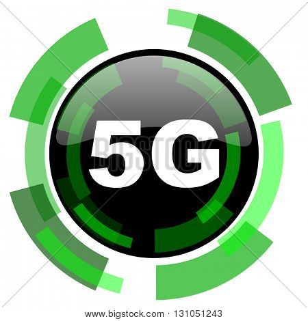 5g icon, green modern design glossy round button, web and mobile app design illustration