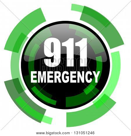 number emergency 911 icon, green modern design glossy round button, web and mobile app design illustration