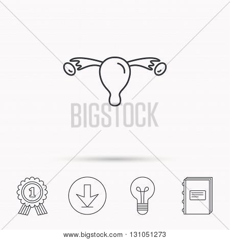 Uterus icon. Ovary sign. Gynecology health symbol. Download arrow, lamp, learn book and award medal icons.
