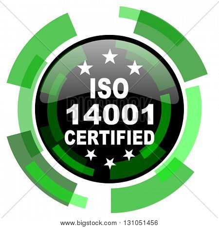 iso 14001 icon, green modern design glossy round button, web and mobile app design illustration
