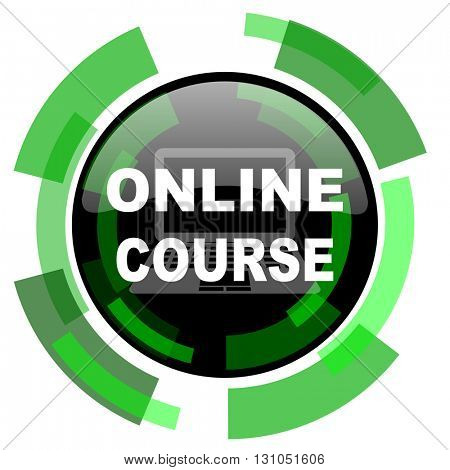 online course icon, green modern design glossy round button, web and mobile app design illustration