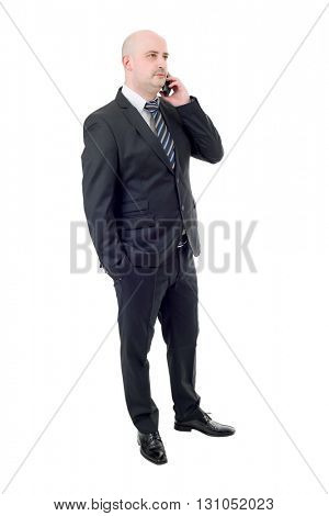 business man on the phone, full lenght, isolated