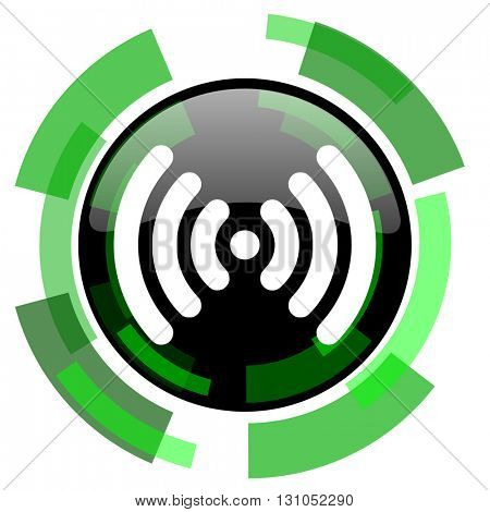 wifi icon, green modern design glossy round button, web and mobile app design illustration