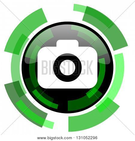 photo camera icon, green modern design glossy round button, web and mobile app design illustration