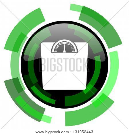 weight icon, green modern design glossy round button, web and mobile app design illustration