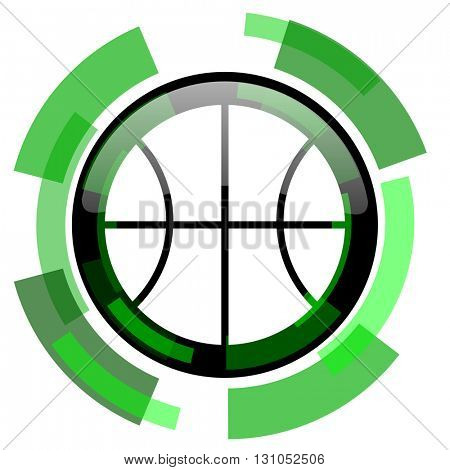 ball icon, green modern design glossy round button, web and mobile app design illustration