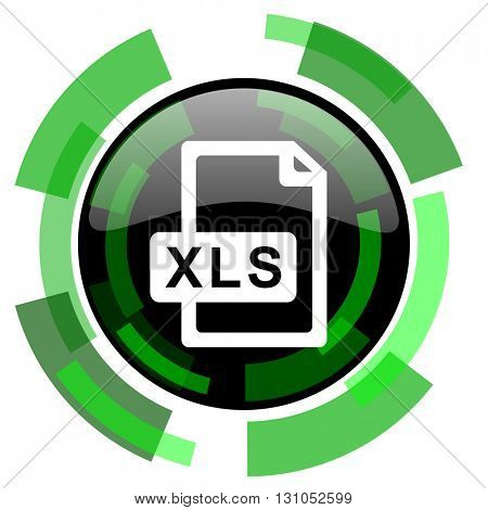 xls file icon, green modern design glossy round button, web and mobile app design illustration