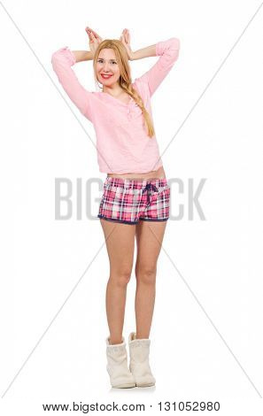 Pretty smiling girl in pink jacket isolated on white
