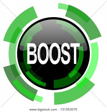 boost icon, green modern design glossy round button, web and mobile app design illustration