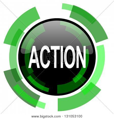 action icon, green modern design glossy round button, web and mobile app design illustration