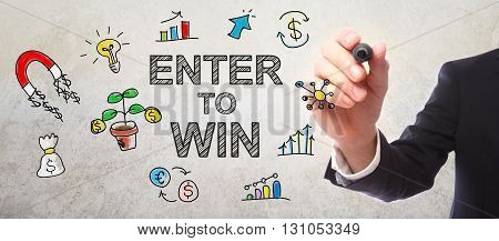 Businessman Drawing Enter To Win Concept