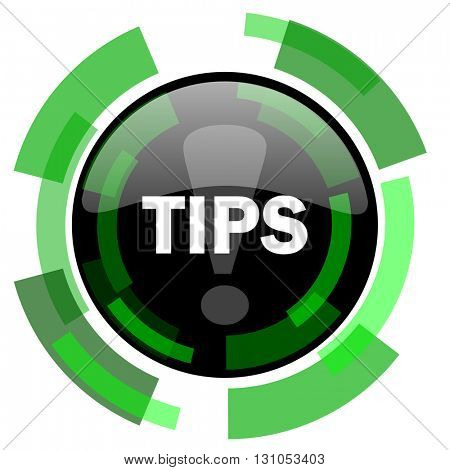 tips icon, green modern design glossy round button, web and mobile app design illustration