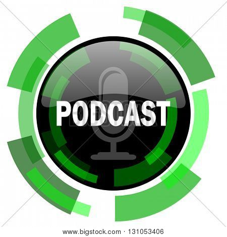podcast icon, green modern design glossy round button, web and mobile app design illustration