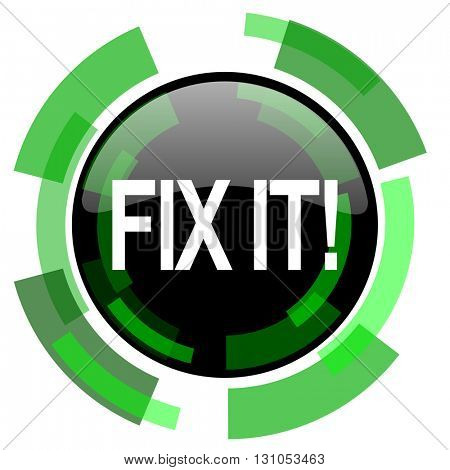 fix it icon, green modern design glossy round button, web and mobile app design illustration