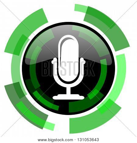 microphone icon, green modern design glossy round button, web and mobile app design illustration