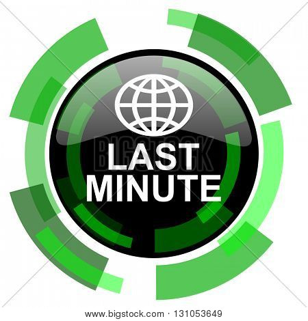 last minute icon, green modern design glossy round button, web and mobile app design illustration