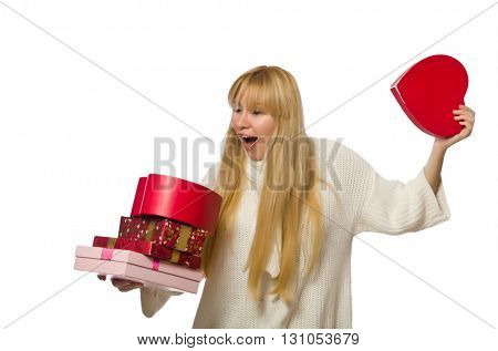 Woman with giftboxes isolated on white