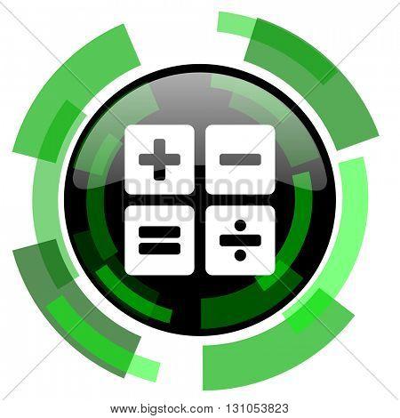 calculator icon, green modern design glossy round button, web and mobile app design illustration