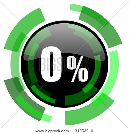 0 percent icon, green modern design glossy round button, web and mobile app design illustration
