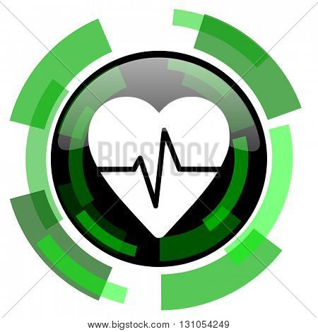 pulse icon, green modern design glossy round button, web and mobile app design illustration
