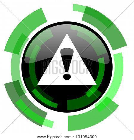 exclamation sign icon, green modern design glossy round button, web and mobile app design illustration
