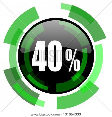 40 percent icon, green modern design glossy round button, web and mobile app design illustration