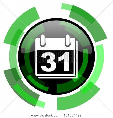 calendar icon, green modern design glossy round button, web and mobile app design illustration