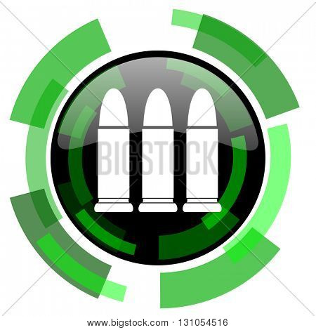 ammunition icon, green modern design glossy round button, web and mobile app design illustration