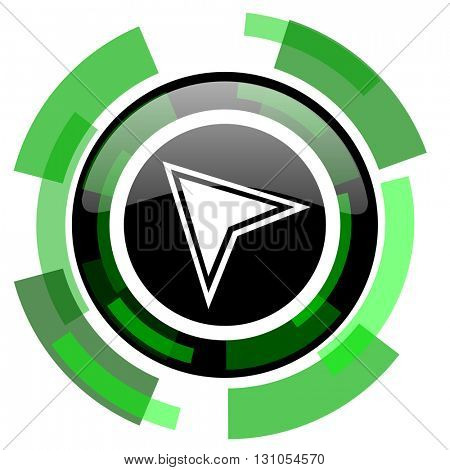 navigation icon, green modern design glossy round button, web and mobile app design illustration