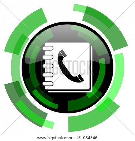 phonebook icon, green modern design glossy round button, web and mobile app design illustration