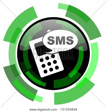 sms icon, green modern design glossy round button, web and mobile app design illustration