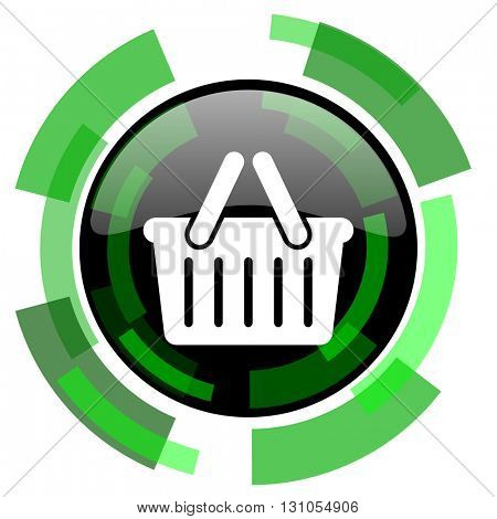 cart icon, green modern design glossy round button, web and mobile app design illustration