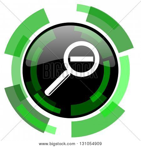 lens icon, green modern design glossy round button, web and mobile app design illustration