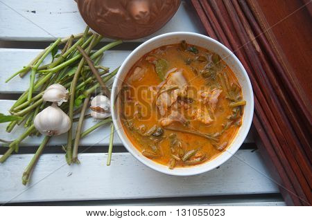 Thai Spicy Curry with Pork and Water Spinach