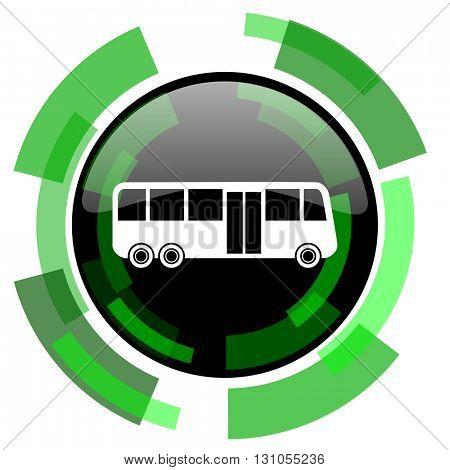 bus icon, green modern design glossy round button, web and mobile app design illustration