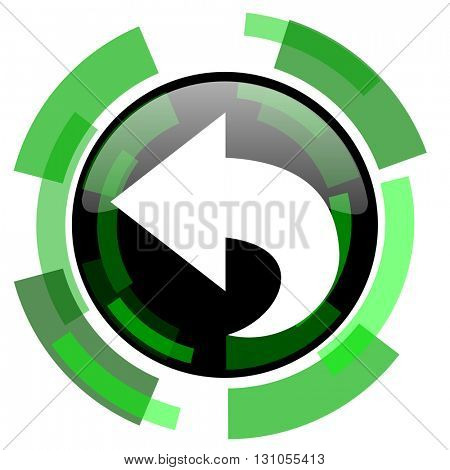 back icon, green modern design glossy round button, web and mobile app design illustration