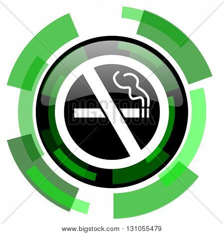 no smoking icon, green modern design glossy round button, web and mobile app design illustration