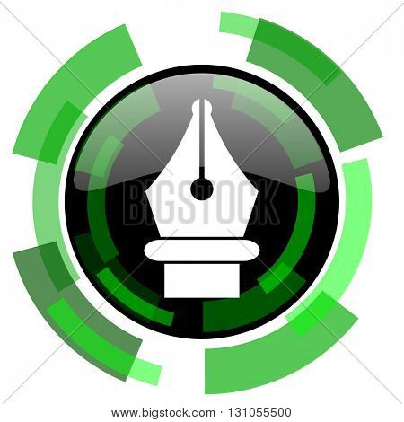 pen icon, green modern design glossy round button, web and mobile app design illustration