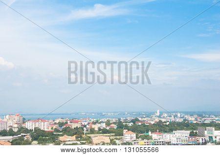 Top view of Pattaya city in Pattaya Thailand.