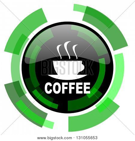 espresso icon, green modern design glossy round button, web and mobile app design illustration