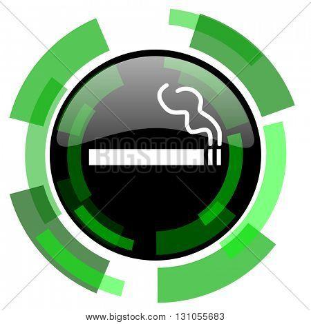 cigarette icon, green modern design glossy round button, web and mobile app design illustration