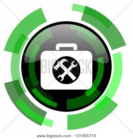 toolkit icon, green modern design glossy round button, web and mobile app design illustration