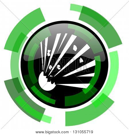 bomb icon, green modern design glossy round button, web and mobile app design illustration
