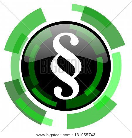 paragraph icon, green modern design glossy round button, web and mobile app design illustration